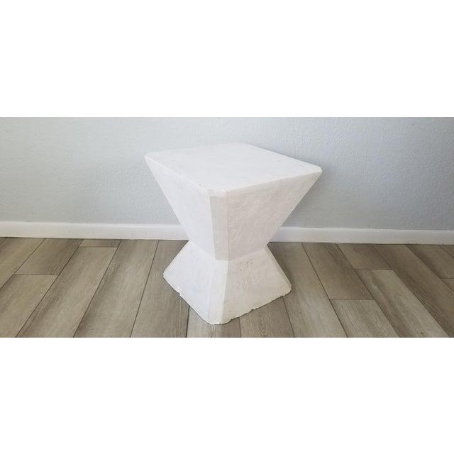 Vintage Postmodern Geometric Plaster Side Table For Sale - Image 4 of 13