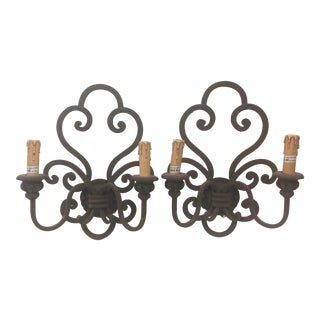 Mission Style Wrought Iron Wall Sconces a Pair Two Light For Sale