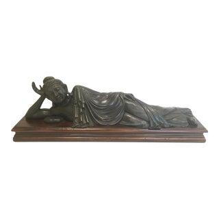 1990's Vintage Theodore Alexander Brass Reclining Buddha Statue For Sale