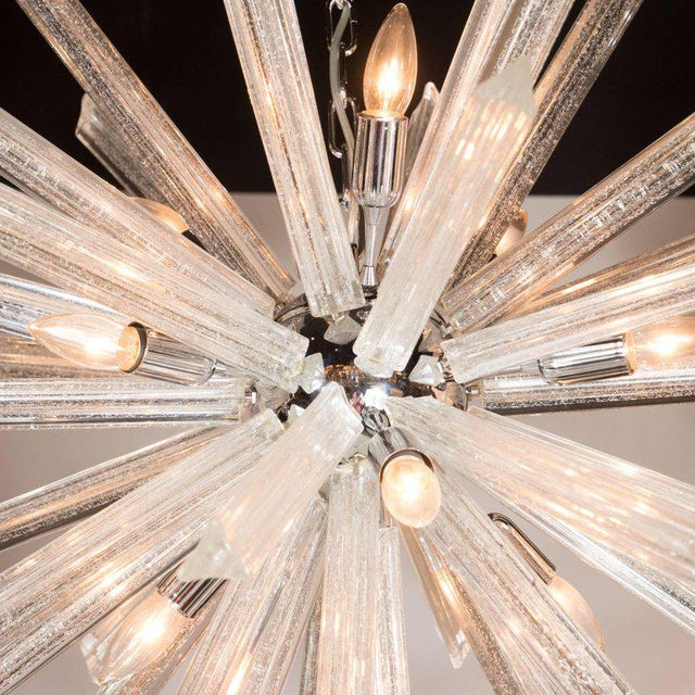 Murano Glass Triedre Chrome Sputnik Chandelier with 24-Carat White Gold Flecks For Sale - Image 4 of 9