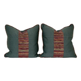 Faille and Woven Pillows - A Pair For Sale