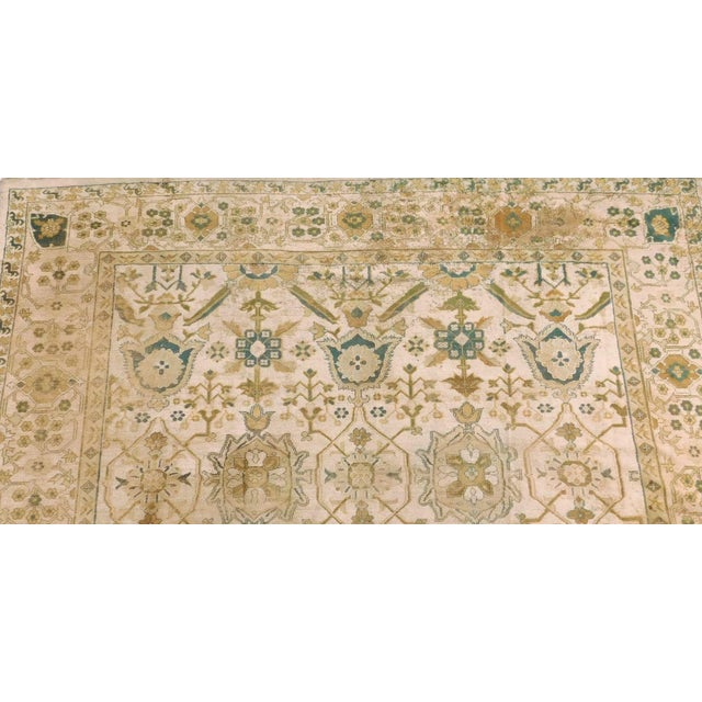 Distressed Antique Hand Knotted Indo-Oushak Rug - 12′ × 17′6″ For Sale In Los Angeles - Image 6 of 6