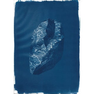 3d Digital Low-Poly Rock, Cyanotype Print on Watercolor Paper, A4 Size (Limited Edition)