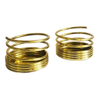 Vintage Partylite Brass Coil Pillar Candle Holders - Set of 2 For Sale