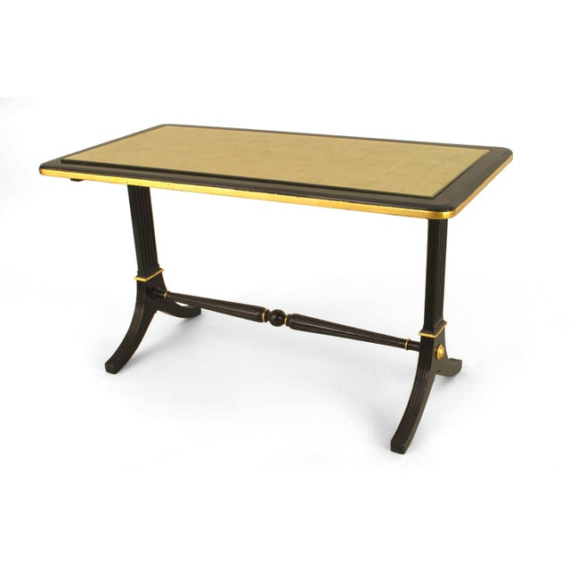 Maison Jansen 1940s French Gilt Glass and Ebonized Wood Coffee Table, by Jansen For Sale - Image 4 of 4