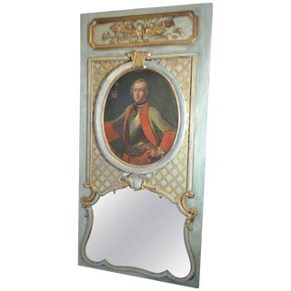 19th Century Parcel-Gilt and Painted Trumeau Mirror With 17th Century Portrait For Sale