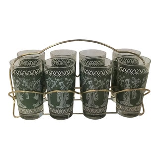 Mid-Century Chinoiserie Wedgewood Green Highball Glasses With Carrier- Set of 8
