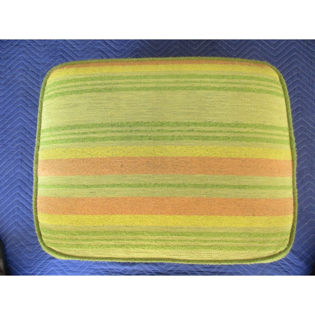 French Style Footstool With Mid-Century Modern Fabric For Sale - Image 9 of 11