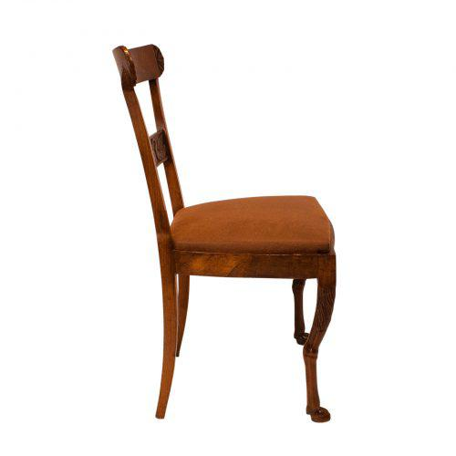 Walnut Neoclassical Side Chairs - A Pair For Sale In San Francisco - Image 6 of 7