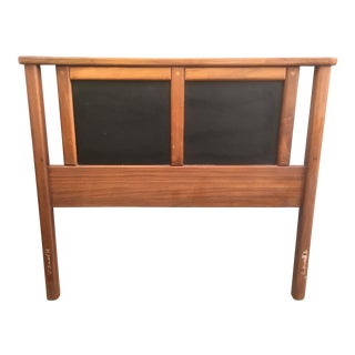 Mid-Century Walnut & Vinyl Single Headboard For Sale