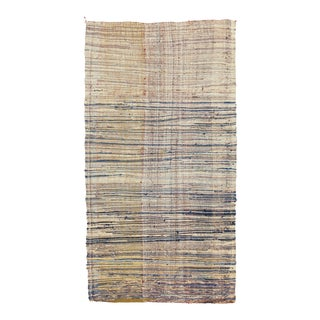 Mid 20th Century Moroccan Rag Rug- 4′ × 7′5″ For Sale