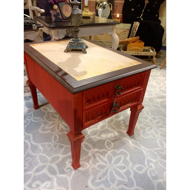 Vintage Coral Accent Table - Image 3 of 9
