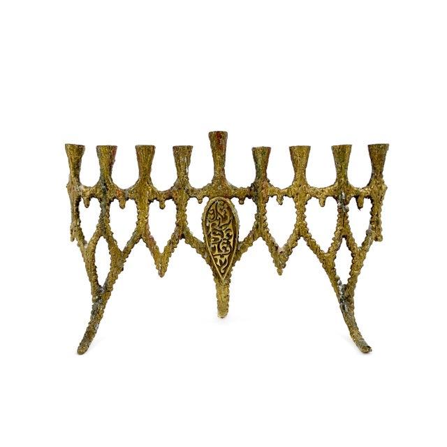 Gold Vintage 1950s Brass Brutalist Hanukkah Menorah Wainberg Style For Sale - Image 8 of 8