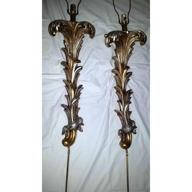 Regency Hollywood Gold Silver Wall Sconce Lamps - a Pair Last Call For Sale - Image 9 of 12