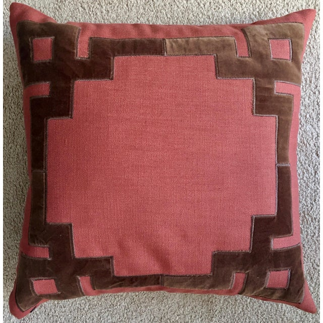 2010s Linen & Velvet Accent Pillow-Feather Insert For Sale - Image 5 of 10