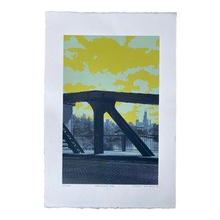 Hiroshi Ariyama Serigraph 'Webster Ave' in Yellow For Sale