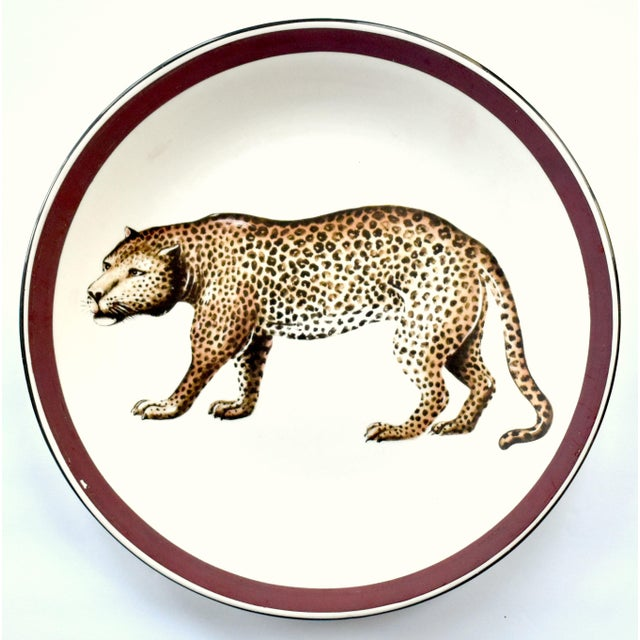 Late 20th Century Vintage Italian Mottahedeh Leopard Plate For Sale - Image 5 of 5