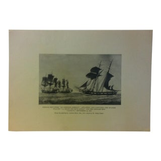 "Vintage ""French Privateer Le Comtesse Emeriau 1810"" Sailing Ship Print on Paper Circa 1930 For Sale"