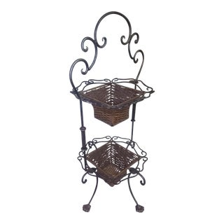 1970s Vintage Wrought Iron Stand with Baskets For Sale