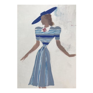 Mid-Century French Fashion Design Painting For Sale