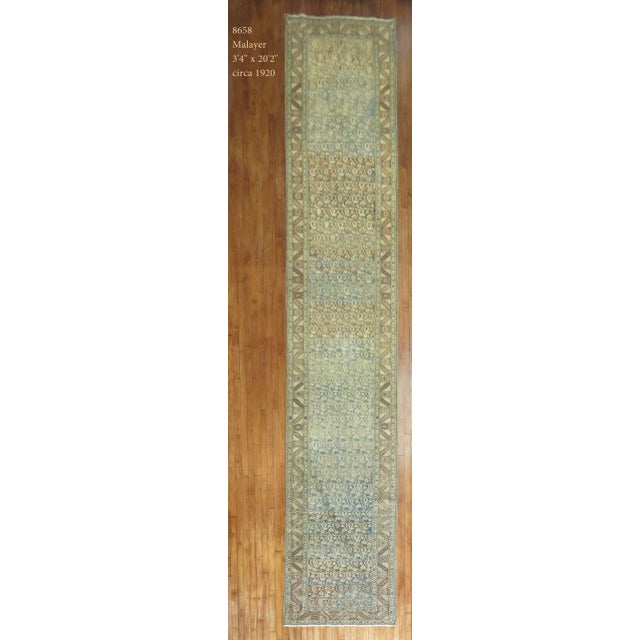 Antique Persian Malayer Runner, 3'4'' X 20'2'' For Sale - Image 11 of 11