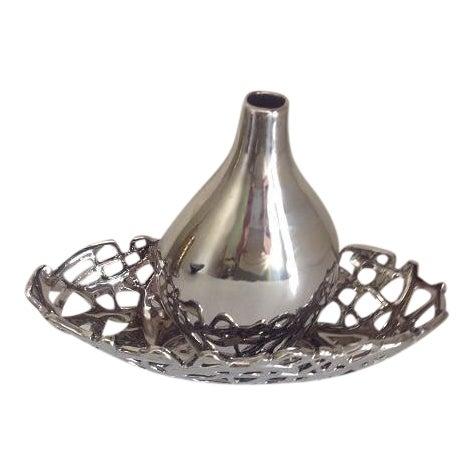 Metallic Chrome Glazed Ceramic Vase & Decorative Bowl - A Pair For Sale