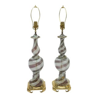 Dino Martens for Aureliano Toso Large Murano Glass Mezza Fillegrana Lamps - a Pair For Sale