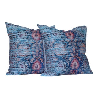 A Pair of Blue Ikat Distressed Print Pillow Covers -18'' For Sale