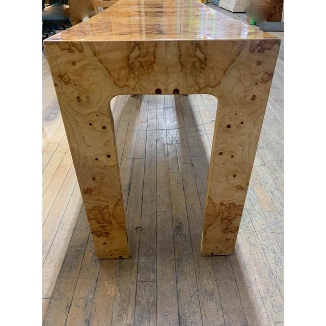 Mid Century Burl Wood Baughman Parsons Console Table For Sale In New York - Image 6 of 9
