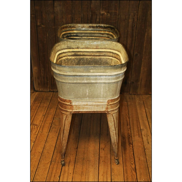 Vintage Wheeling Galvanized Double Wash Tub Stand For Sale - Image 4 of 11