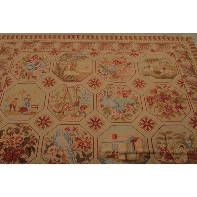 Cottage Vintage Mid-Century Hand-Knotted Needlepoint Rug - 5′10″ × 6′11″ For Sale - Image 3 of 5