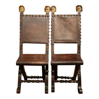 Early 19th Century Spanish Walnut Folding Chairs - A Pair