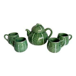 Bordallo Pinheiro Cabbage Teapot and Mug Set For Sale