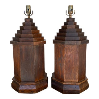 English Oak Lamps, Pair For Sale