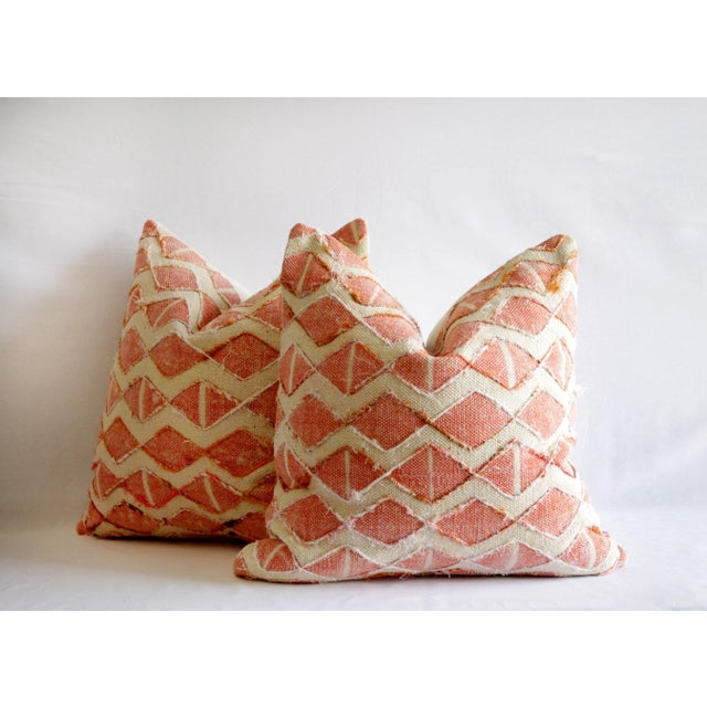 2010s Contemporary Coral Color Diamond Silk Embroidery Pillow Cover For Sale - Image 5 of 7