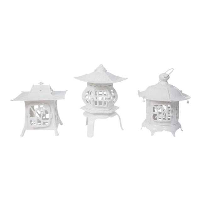 1960s Trio of White Lacquer Cast Iron Pagodas - Set of 3 For Sale