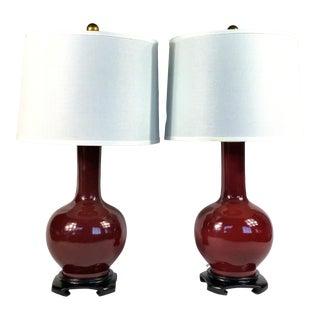 Aubergine Ceramic Lamps - a Pair For Sale