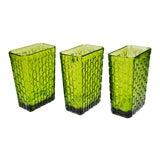 Image of Vintage Nos Anchor Hocking Avocado Green Glass Vases - Set of 3 For Sale
