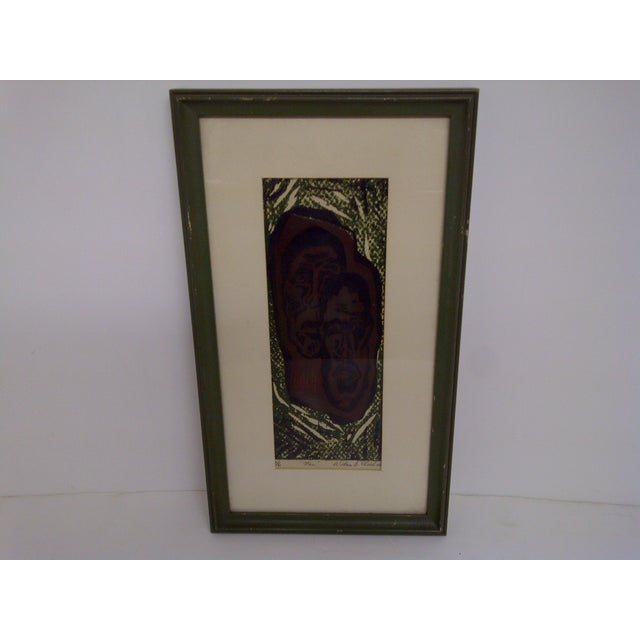 "Block print titled, ""Man"" by William Shelehida. Numbered 2/6. Framed and matted. Ready for display. In good condition. The..."