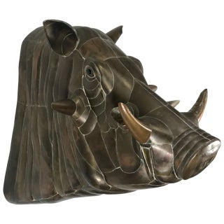 Monumental Sergio Bustamante Copper and Brass Warthog Wall Sculpture For Sale