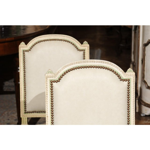 White Set of Eight French Louis XVI Style Painted Dining Chairs with New Upholstery For Sale - Image 8 of 13