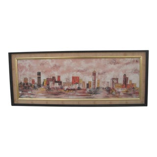 Vintage Mid-century Cityscape Painting For Sale