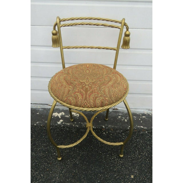 1970s 1970s Vintage Hollywood Regency Painted Gold Iron Vanity Stool For Sale - Image 5 of 11