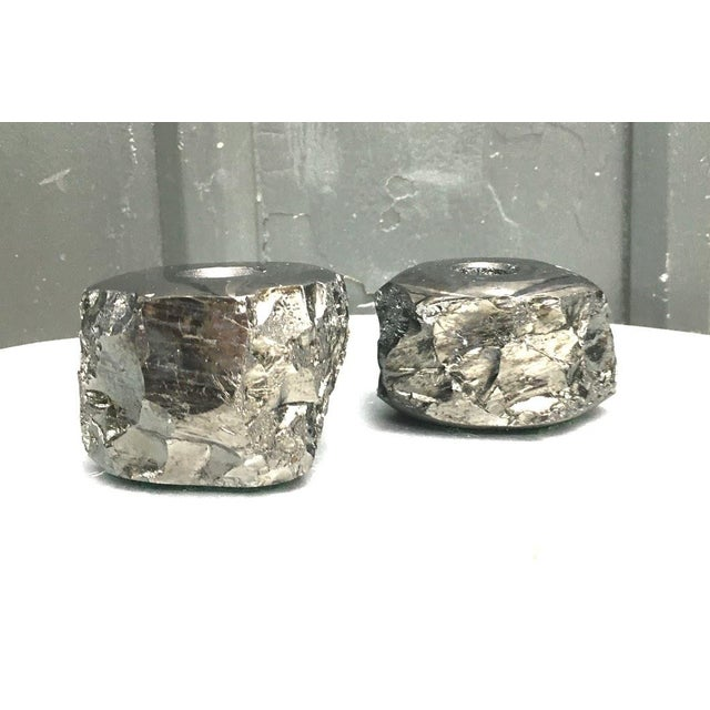"""Vintage black geode candlesticks/candle holders. Excellent condition. Price is for the pair. Each measures 2.5"""" tall and..."""