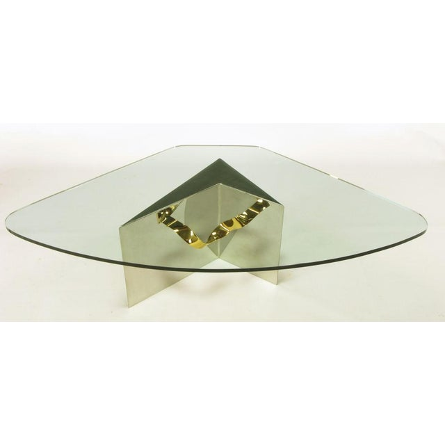 Custom Artisan Chrome, Brass, And Glass Coffee Table - Image 4 of 10