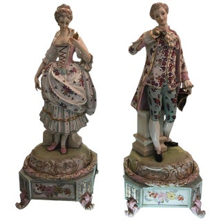 Late 19th Century Vintage Dresden Figures of Aristocratic Couple- a Pair For Sale