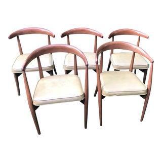 1960s Lawrence Peabody for Richardson Brothers Tan Dining Chairs - Set of 5 For Sale