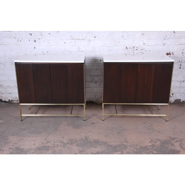 Calvin Furniture Paul McCobb Irwin Collection Mahogany and Brass Sideboard Cabinets (2 Available) For Sale - Image 4 of 13