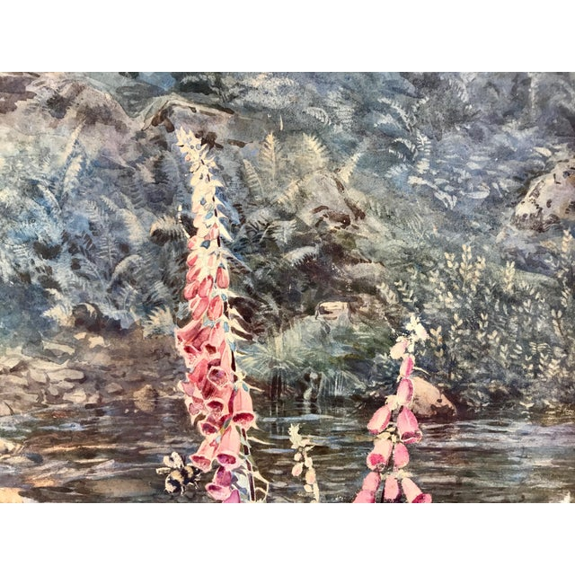 "Joseph Addey ""Fox Gloves"" English Landscape Painting 19th Century For Sale - Image 4 of 6"