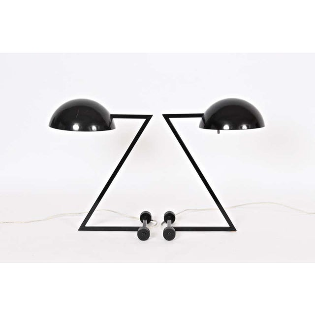Industrial modern George Kovacs style black table lamp. Finely designed Z form. Balanced. With barbell base. 8D shade. UL...